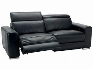 Canapé relaxation 3 places STAN coloris noir Conforama