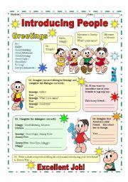 english worksheet introducing people