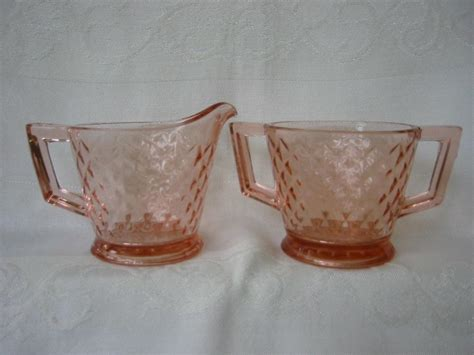 pink depression glass patterns pink depression glass creamer and sugar pattern diamond quilted from problem1 on ruby lane