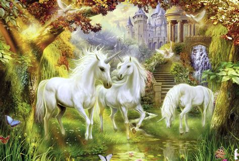 magical unicorn forest  ultra hd wallpaper background