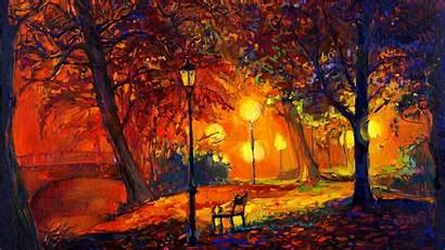 Autumn Fall Painting Nature Trees Leaves Tree