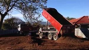 Dump truck gravel - YouTube