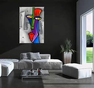 Tableau Salon Design : pop art face tableau abstrait ~ Teatrodelosmanantiales.com Idées de Décoration