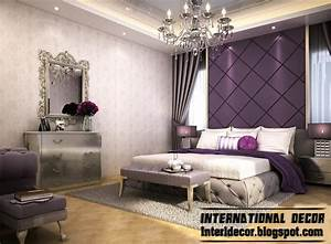 Contemporary Bedroom Design And Purple Wall Decoration Ideas  Modern Purple Bedroom Decorating
