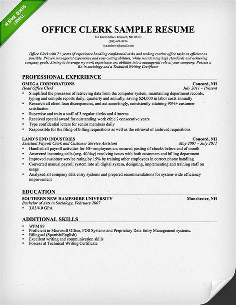 Your Own Resume by Office Clerk Resume Sle This Resume Sle