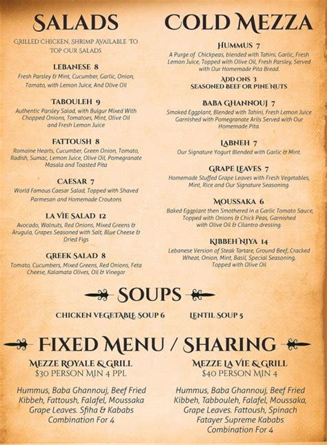 menu for la vie lebanese cuisine 281 s pompano pkwy