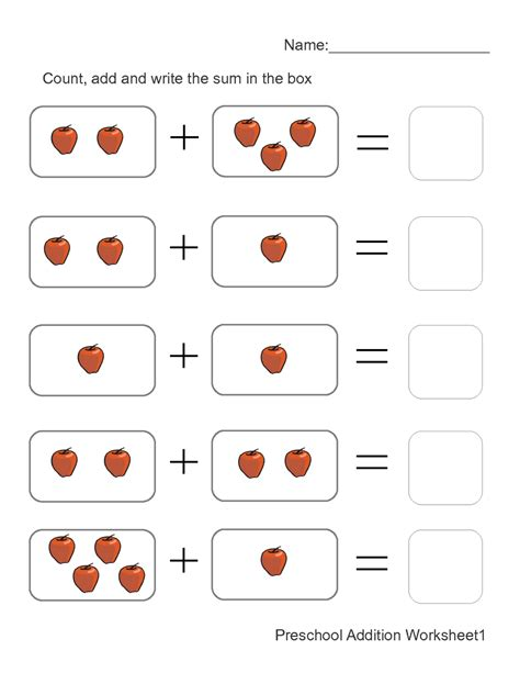 addition worksheets  pictures  preschool math