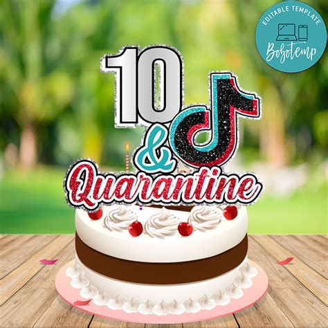 printable tik tok birthday cake topper digital file diy