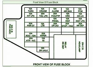 1998 Pontiac Grand S E Front View Fuse Box Diagram