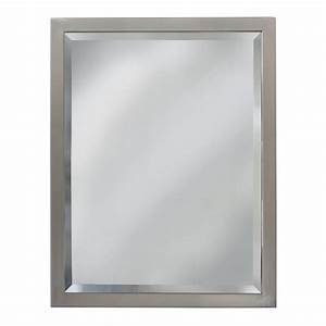 Shop allen roth 24 in x 30 in brush nickel rectangular for Bathroom morrors