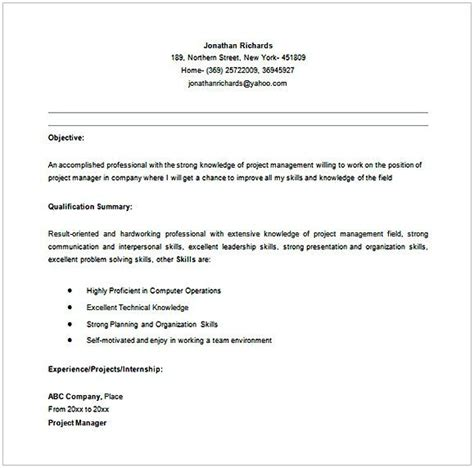 Entry Level Project Manager Resume by Entry Level Entry Level Project Manager Resume In Ms Word
