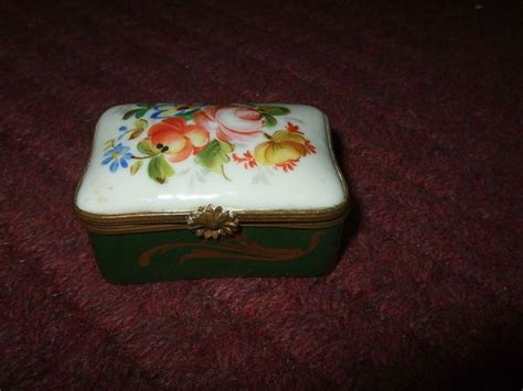 pate a limoges trinket box pate de limoges couleuvre painted floral green gold boxes