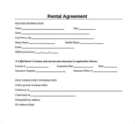 generic rental agreement templates   sample