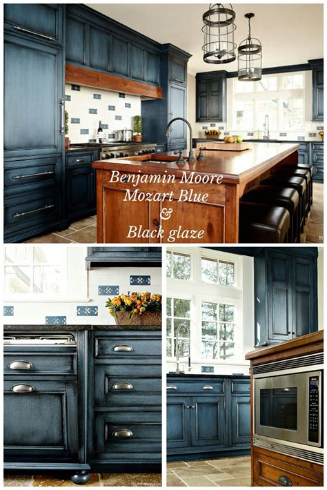 black glazed kitchen cabinets benjamin quot mozart blue quot with black glaze done by 4677