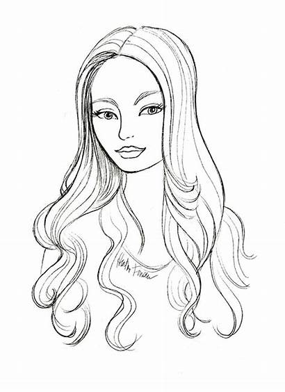 Hair Coloring Drawing Pages Sketches Hairstyles Hairstyle