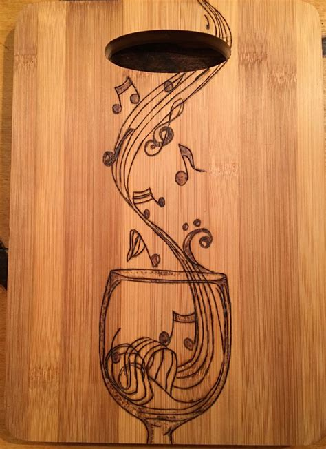 wood burning templates cutting board wood burned with a musical wine glass cuttings woods and pyrography