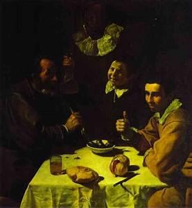 Three Men at Table - Diego Velazquez Painting