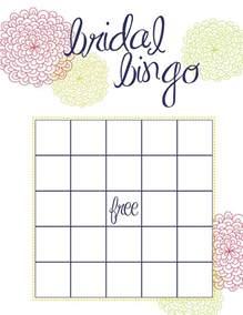 Free Printable Bridal Shower Bingo Template