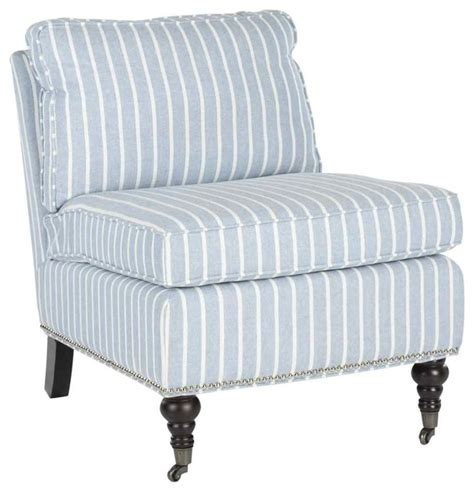 zoey armless club chair light blue with white stripes