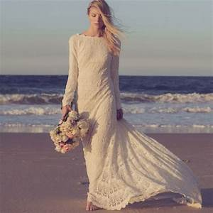 vestidos custom made 2016 long sleeves lace beach bohemian With boho wedding dress beach