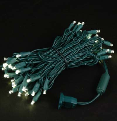 twinkling led christmas lights on green wire with 50 wide