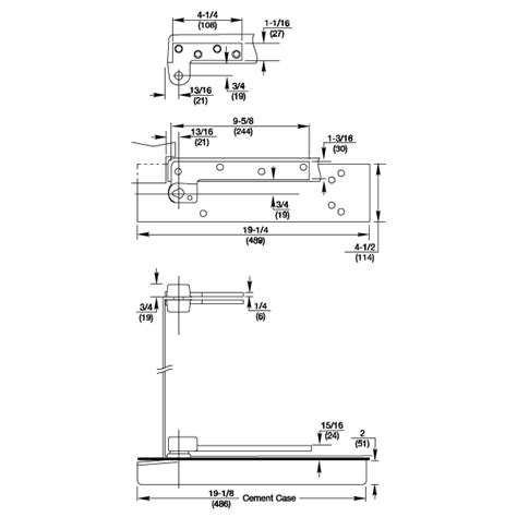 rixson 5103 3 4 offset thin slab floor closer package epivots