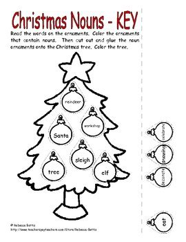 christmas nouns worksheet by bettis teachers pay teachers