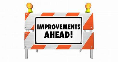 Construction Improvements Ahead Road Sign Barrier Improvement