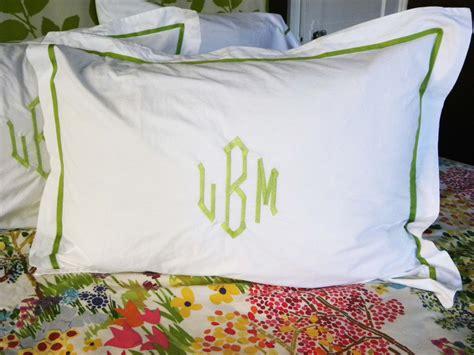 Monogrammed Coverlet by Monogram Standard Pillow Sham With Ribbon Trim Monogram