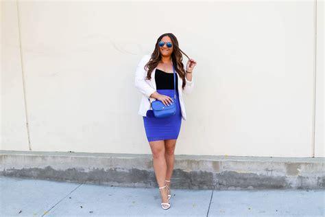 Cobalt Blue Pencil Skirt + White Heels...