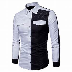Chemise Homme Motif Original : 2018 nouvelle chemise pour homme manches longues col ~ Nature-et-papiers.com Idées de Décoration