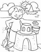 Beach Coloring Pages Castles Building Scenes sketch template