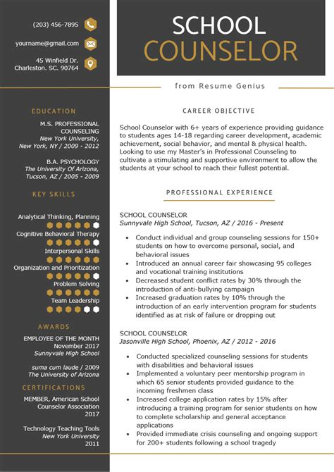 school counselor resume sample tips resume genius
