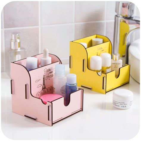 desk organizer for women fashion wood makeup organizer candy color jewelry storage