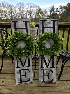 Vertical, Home, Sign, Wooden, Sign, Wall, Decor, With, Wreath