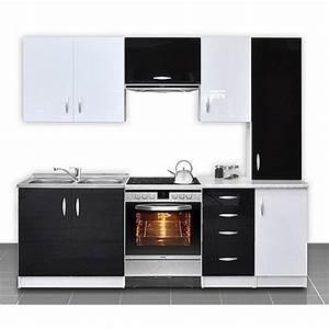 cuisine equipee de 2m20 oxane noir et blanc achat With cuisine equipee noir et blanc