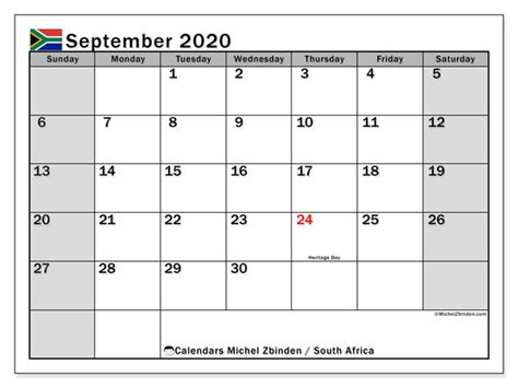 Calendar September 2020 - South Africa - Michel Zbinden EN