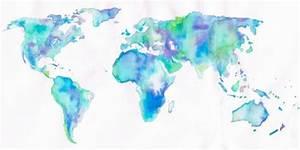 world map watercolor | Tumblr