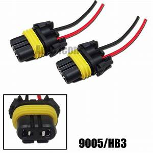 2pcs 9005 Hb3 Female Adapter Wiring Harness Sockets For