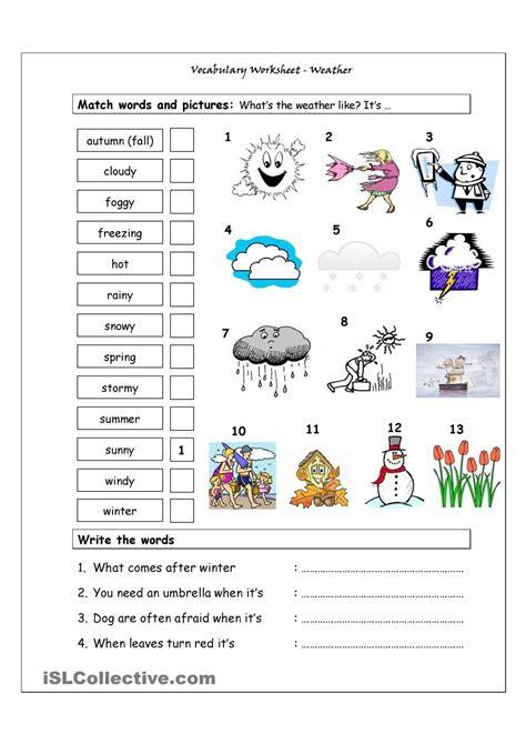 Vocabulary Matching Worksheet  Weather Teachers