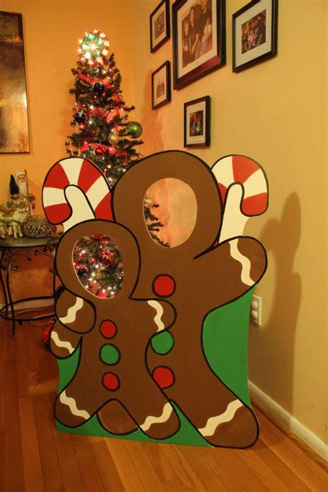 gingerbread wooden photo booth prop face  hole photo