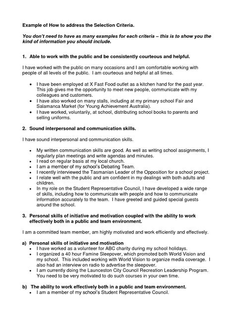 Selection Criteria Cover Letter by This Exle Exle Of Addressing The Selection