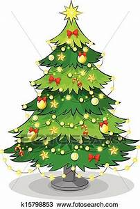 Clipart of A green christmas tree with sparkling lights ...