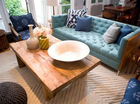 boho chic living room  blue midcentury modern sofa hgtv