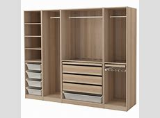PAX Wardrobe White stained oak effect 250 x 58 x 201 cm IKEA