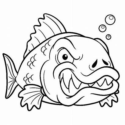 Fish Coloring Pages Monster Angry Fossil Bass