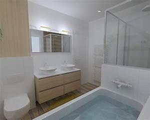 renovation salle de bain dans les tons chaleureux a rennes With carreler mur salle de bain