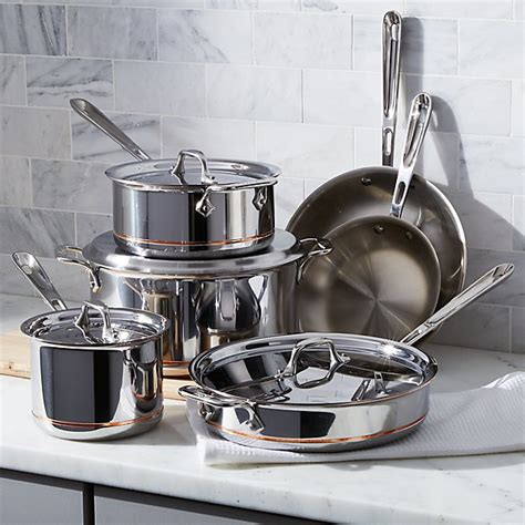cookware clad copper core piece bonus sets crate stainless kitchen barrel crateandbarrel