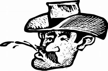 Cowboy Tobacco Spitting Chewing Woodcut Clip Drawing