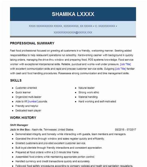Shift Manager Resume by Best Shift Manager Resume Exle Livecareer